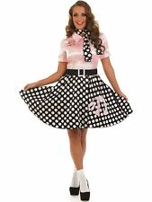 LADIES 1950s ROCK N ROLL PINK POODLE FANCY DRESS ROCKABILLY COSTUME OUTFIT NEW