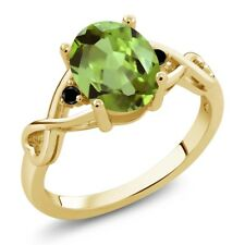 1.86 Ct Oval Green Peridot Black Diamond 18K Yellow Gold Plated Silver Ring