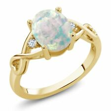 0.65 Ct Oval White Simulated Opal White Topaz 18K Yellow Gold Plated Silver Ring