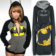 Batman Print Women Zip Sweatshirt Hooded Jumper Pullovers Black Yellow Long Tops