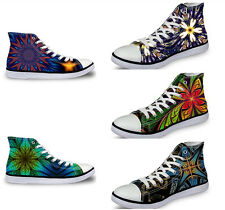 Brand Ladies Womens Casual Canvas Sneakers Flat Lace Up Hi Top Trainers Shoes
