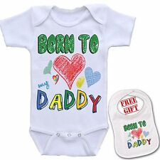 """ Born to Love Daddy "" Boutique printed Baby onesie bodysuit & Matching Bib set."