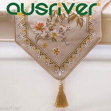 Premium Gold Red Classical Luxurious Wedding Party Banquet Table Runner # ZQ1021