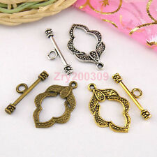 10Sets Tibetan Silver,Antiqued Gold,Bronze Leaf Connectors Toggle Clasps M1421