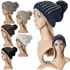 Wooly Bobble Rhinestone Stone Balloon Winter Hat Ponpon Long Beanie New