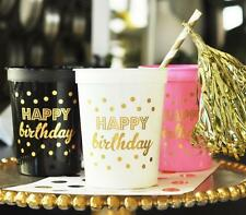 25 Gold HAPPY BIRTHDAY Plastic Wedding Birthday Party Cups 16 oz.