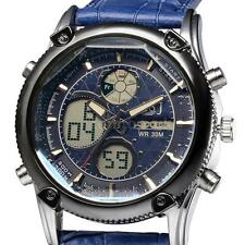 Mens Analog Digital Display Sport Time Date Alarm Chronograph Leather Watch D4W6