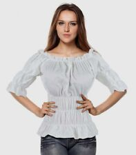 White Gypsy Peasant Medieval Pirate Wench Rouched Off Shoulder Top Aussie Seller