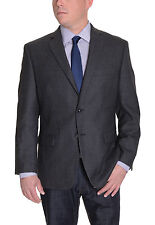 Calvin Klein Slim Fit Charcoal Gray Check Two Button Wool Blazer Sportcoat