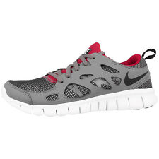 NIKE FREE RUN 2 GS RUNNING SHOES TRAINERS 443742-035 GREY BLACK RED 4.0 5.0