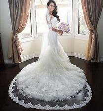Cathedral Wedding Bridal Veils 1 T Lace Edge 3 M With Comb Custom Made