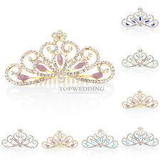 Colors Crystal Wedding Flower Girl Princess Tiara Crown Kids Hair Accessory Comb