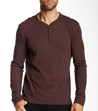 John Varvatos Star USA Long Sleeve 4 Snap Henley Cherrywood Cotton $118 msrp NWT