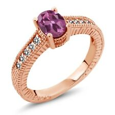 1.18 Ct Oval Pink Tourmaline White Diamond 18K Rose Gold Plated Silver Ring