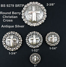CONCHOS LOT OF 6 PCS WESTERN ENGRAVED BERRY SILVER CHRISTIAN CROSS 5 SIZES NEW