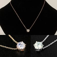 """NEW Rose or White Gold Cubic Zirconia Solitaire Necklace 16"""" to 18"""" Womens Chain"""