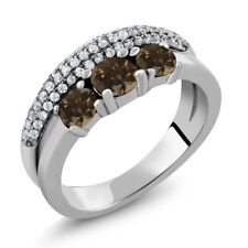 1.69 Ct Round Brown Smoky Quartz 925 Sterling Silver Ring