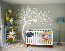 All white Nursery tree wall decal with white birds Handmade wall decoration 032R