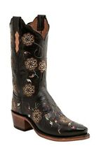 Lucchese N4551 54 Womens Black Floral Buffalo Leather Western Cowboy Boots