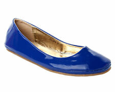 WOMENS ROYAL BLUE PATENT FLAT DOLLY BALLET PUMPS CASUAL SHOES LADIES UK SIZE 3-8