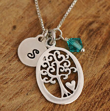 Sterling Silver Personalised Tree Of Life & Heart Pendant Necklace & Birthstone