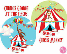 Curious George Personalised Edible Image on REAL Icing Birthday Cake Topper