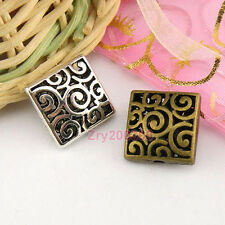 8Pcs Tibetan Silver,Bronze Hollow Filigree Square Spacer Beads 14.5mm M1664
