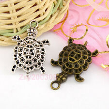 6Pcs Tibetan Silver,Antiqued Bronze Turtle Charms Pendants 21.5x34mm M1568