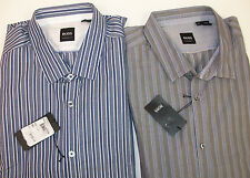 NWT Hugo Boss Lorenzo Shirt $155 Regular Fit  Long Sleeve Striped Blue White  XL