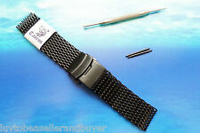 TAURUS SHARK MESH PVD BLACK DIVERS WATCH STRAP BAND BRACELET 20mm 22mm FOR SEIKO