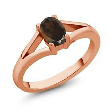 0.75 Ct Oval Brown Smoky Quartz 18K Rose Gold Plated Silver Ring