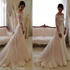 Custom Elegant Lace Wedding Dress White/Ivory Off The Shoulder Garden Bride Gown