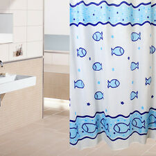 Cartoon Animal Dolphin Fish Ocean Bathroom Fabric Shower Curtain with 12 Hooks