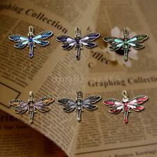 Fashion Charm Vintage Dragonfly Chain Necklace Pendant Rhinestone Jewelry R1B1