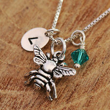 Sterling Silver Personalised Dainty 3D Honey Bee Pendant Necklace & Birthstone