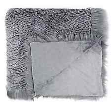 Dennis Basso Platinum Oversized Faux Fur Throw with Trim H200601 56 x 70