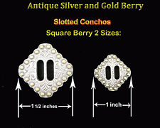 CONCHOS LOT OF 6 PC WESTERN SQUARE BERRY ANTIQUE SILVER AND GOLD SLOTTED 2 SIZES