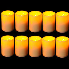 Set of Flickering Flameless Resin Votive Candles with Timer Pillar LED Candles