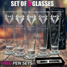 5x Engraved 420ml Tall Pilsner Beer Glass Groomsman Gift Wedding Present Favour
