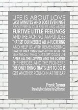 I KNEW PRUFROCK BEFORE HE GOT FAMOUS - FRANK TURNER Words Lyric Lyrics Wall Art