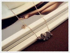Trendy Gold Plated Crystal Elegant Elephants Family Necklace Fashion Jewelry HOT