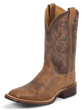 Justin Old Map Bent Rail Cowboy Boots Square Toe Western - BR372 - J-Flex - USA