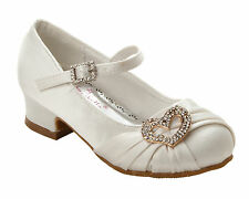 GIRLS WHITE SATIN DIAMANTE BRIDESMAID WEDDING PARTY SANDALS SHOES UK SIZE 8-3