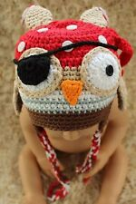 New Grey Knit Crochet Vikings Owl Hat Pirate Owl Hat Newborn Photo Prop Baby Hat