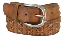 "MEN'S HAND LACED VINTAGE FULL GRAIN LEATHER BROWN BELT SIZE 1 3/4"" WIDE NEW NWT"