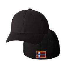 NORWAY FLAG Embroidery Embroidered Black Cotton Flexfit Hat Cap