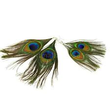 1 Pair Pretty Women Bohemia Dangle Style Peacock Feather Earrings Long Drop X1B6