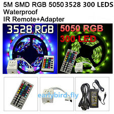 3528/5050 5M  SMD 300 LEDs Light Waterproof Flexible Strip Lighting 12V DC Power