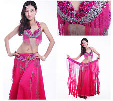 B & D CUP D001 Belly Dance Costume Outfit Set Bra Belt Carnival Bollywood 2 PCS