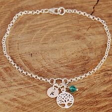 Sterling Silver Personlised Bracelet Tree Of life Charm &Birthstone &Initial Tag